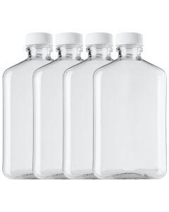 8oz Clear PET Plastic Oblong Flask Style Bottles - 4 Pack