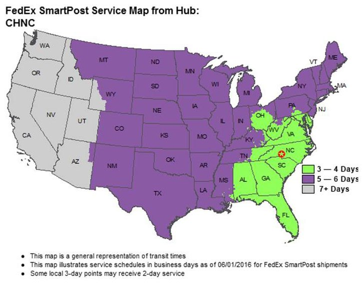 SmartPost shipping times map